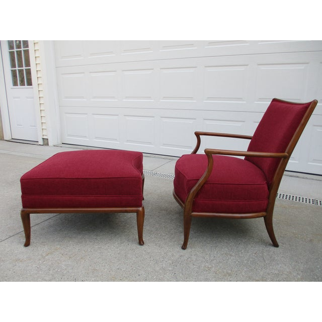 Mid-Century Modern Robsjohn Gibbings for Widdicomb French Style Lounge Chair and Ottoman For Sale - Image 3 of 12