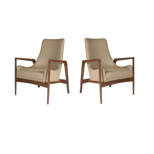 Pair of Warren Walnut Lounge Chairs For Sale In New York - Image 6 of 6