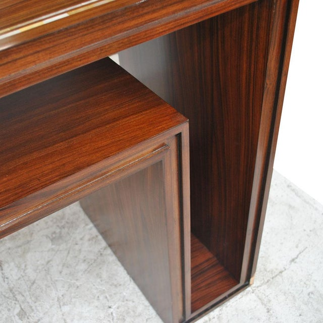 Late 20th Century Modern Rosewood With Mother of Pearl Entry Sofa Table For Sale - Image 5 of 7