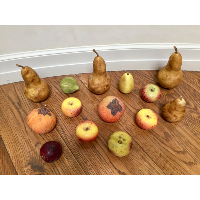 Solid marble, natural patina, fruit collection including 5 pears, 4 red/yellow apples, 2 orange pomegranates, 1 peach, 1...