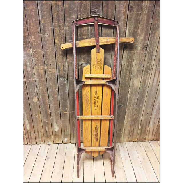 Vintage Weathered Wood & Metal Runner Sled -- Flexible Flyer Model 51J - Image 7 of 11