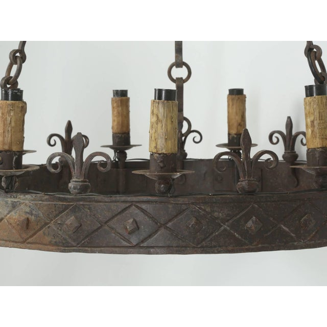 Antique French Hand-Forged Iron Chandelier, Circa 1900 For Sale - Image 4 of 10