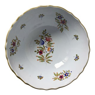 """Italian Faience Hand-Painted 11""""Centerpiece/Serving Bowl For Sale"""