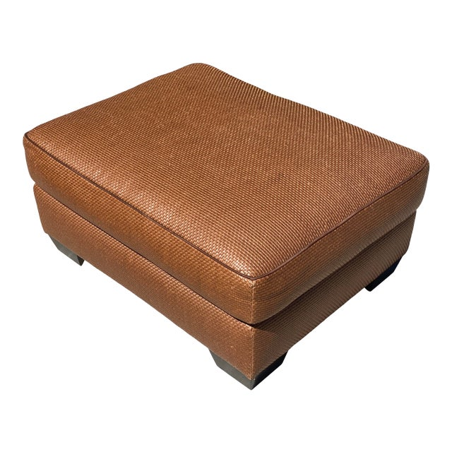 Donghia Leather Woven Ottoman For Sale