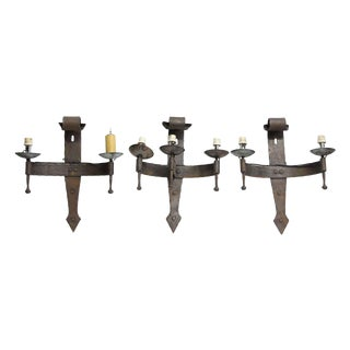 Mid 20th Century Rustic Iron Wall Sconces - Set of 3 For Sale