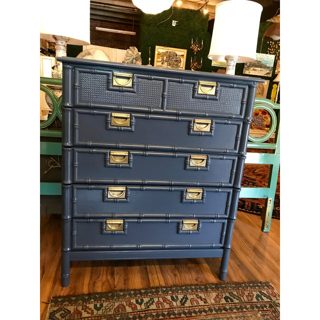 Brass Hale Navy Blue Lacquered Faux Bamboo Highboy For Sale - Image 7 of 8
