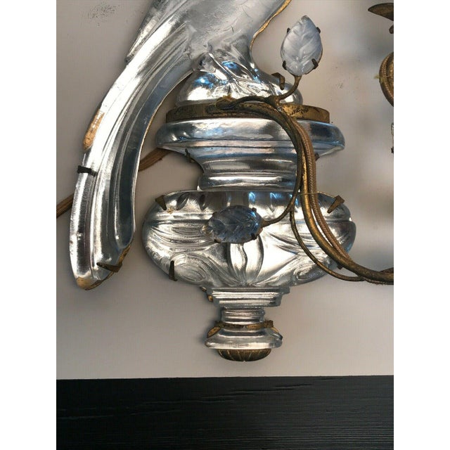 1930s French Art Deco Maison Bagues Paris Crystal Parrot Sconce/ Wall Lamp, Left Side Face Profile For Sale - Image 5 of 8