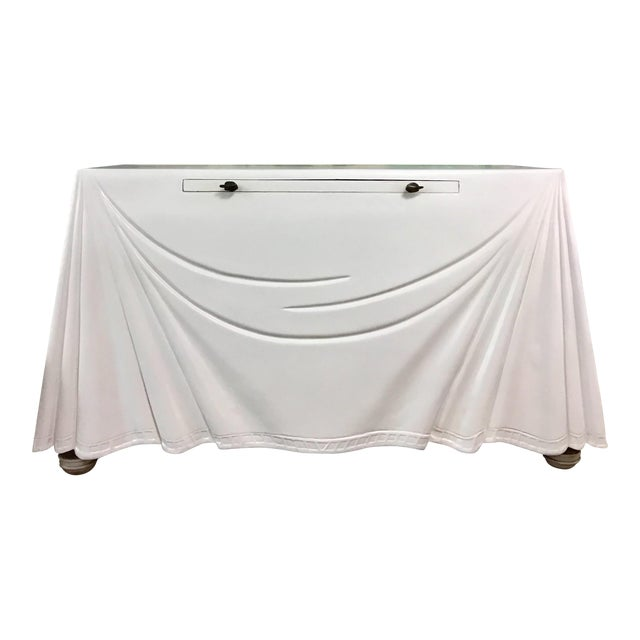 1980s Hollywood Regency Lacquered Parchment Trompe L'Oeil Drapery Console For Sale