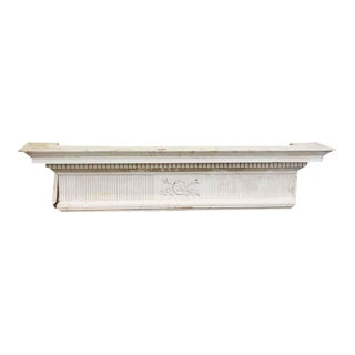 Salvaged White Wooden Carved Mantel Piece For Sale