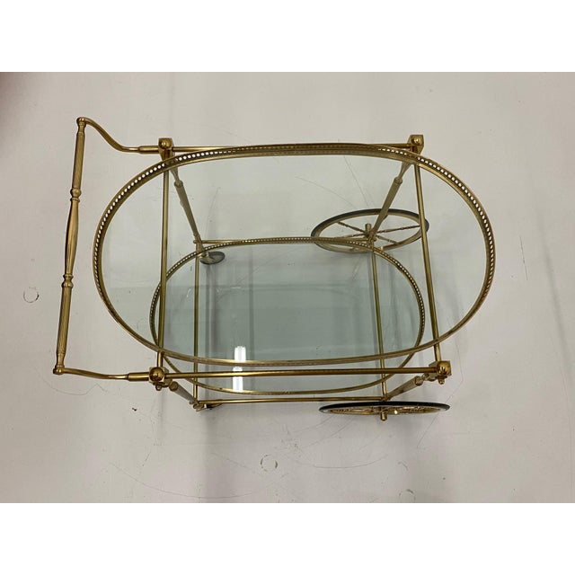 1970s Mid-Century Modern Oval Brass & Glass Bar Cart For Sale - Image 5 of 12