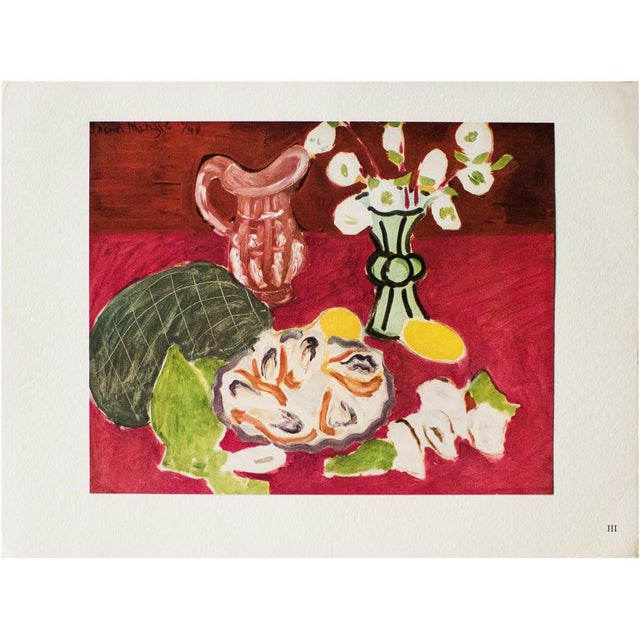 """Red 1946 Henri Matisse Original """"Christmas Roses and Oysters"""" Period Parisian Lithograph For Sale - Image 8 of 8"""