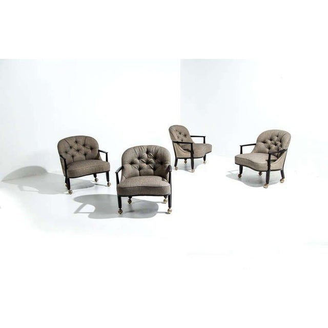 Edward Wormley Janus Chairs for Dunbar with Casters, Model 5705, four chairs. USA, 1957 Stained mahogany, upholstery,...
