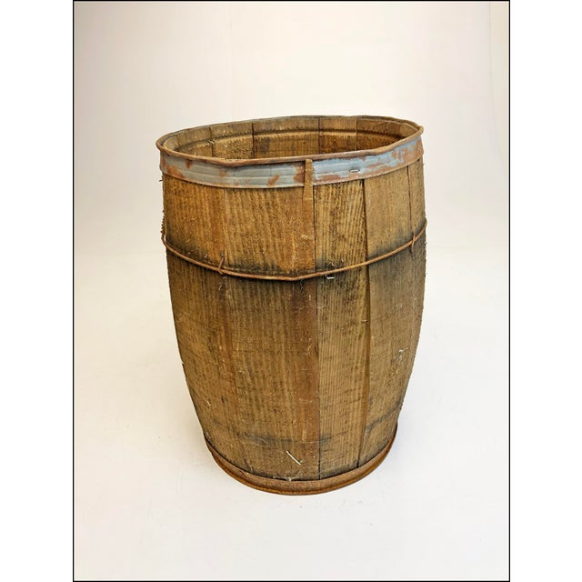Vintage Rustic Banded Weathered Wood Nail Keg For Sale - Image 11 of 11