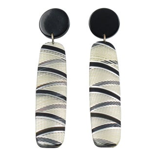 Modernist Long Dangling Drop Lucite Pierced Earrings With Geometric Pattern For Sale