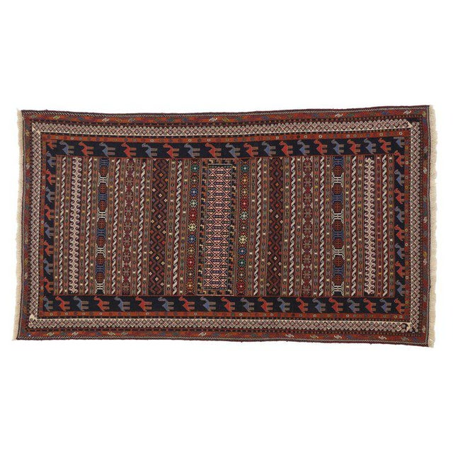 Vintage Soumak Persian Rug With Tribal Style - 3'9 X 6'10 For Sale - Image 4 of 5