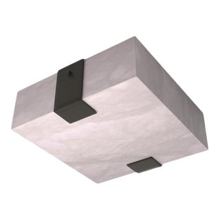 Contemporary 002A-2C Flush Mount in Alabaster and Black by Orphan Work For Sale