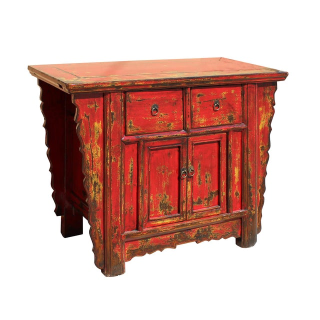 Chinese Rustic Rough Wood Distressed Red Side Table Cabinet For Sale - Image 5 of 9