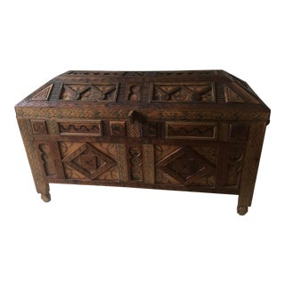 1900s Mediterranean Ornate Hand-carved Wood Chest For Sale