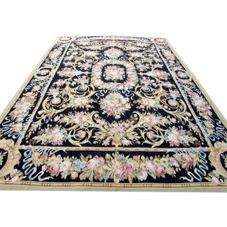 1980s, Handmade Vintage French Aubusson Rug 9' X 12.6' For Sale