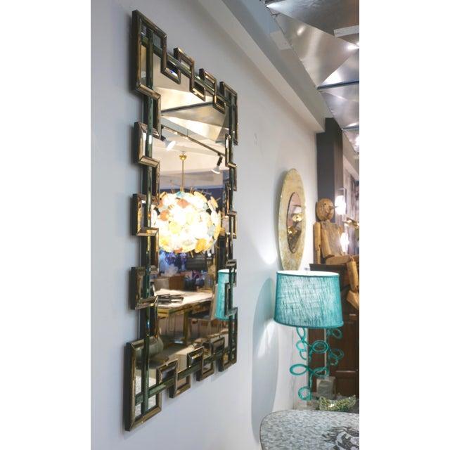 Contemporary Italian Geometric Murano Glass Mirror With Aqua Green Ribbon For Sale - Image 11 of 13