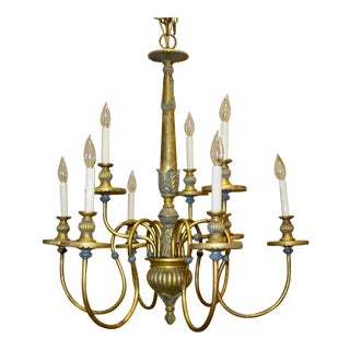 Italian Gilt Polychrome Chandelier For Sale