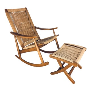 Woven Rope Rocking Chair and Foot Rest, 1960s For Sale