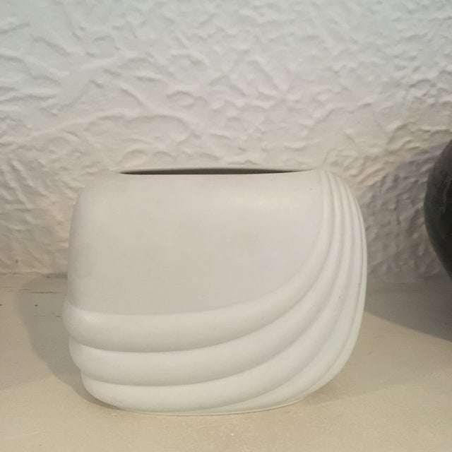 Gorgeous white modernist Rosenthal Studio-Linie ceramic vase. Maker's mark on underside. Made in 1979. Perfect to display...