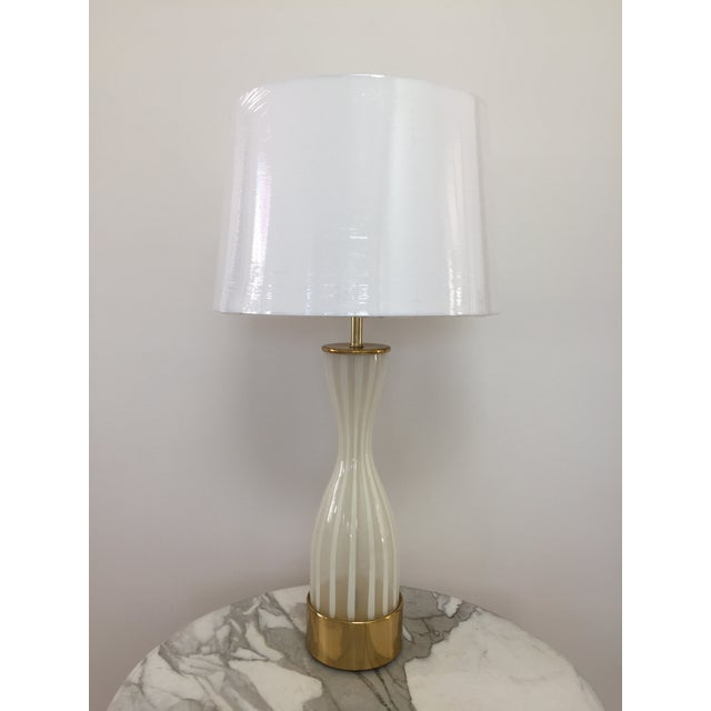 Gold Italian Modern Glass and Brass Table Lamp For Sale - Image 8 of 8