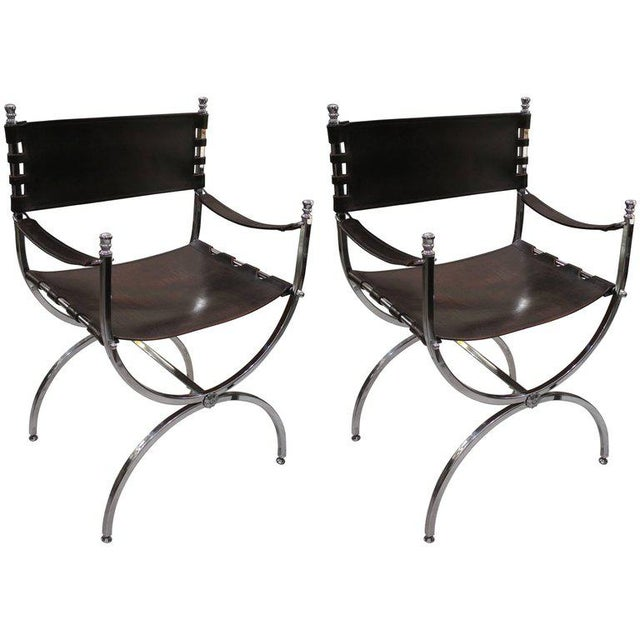 Pair of Chrome and Leather Directors Chairs Attributed to Maison Jansen For Sale - Image 10 of 10
