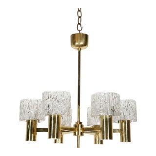 1950s Orrefors Brass Six-Light Chandelier For Sale