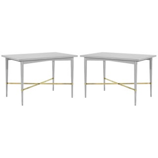 Paul McCobb for Directional Brass Stretcher End Tables - a Pair For Sale