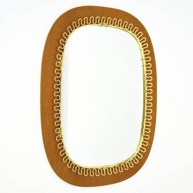 Josef Frank Brass and Teak Mirror, circa 1960 For Sale - Image 6 of 9