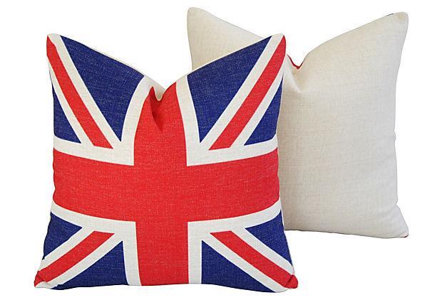 British Union Jack Linen Feather Down Flag Pillows A
