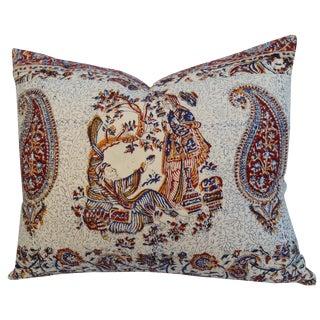 Persian Block Print Linen Pillow