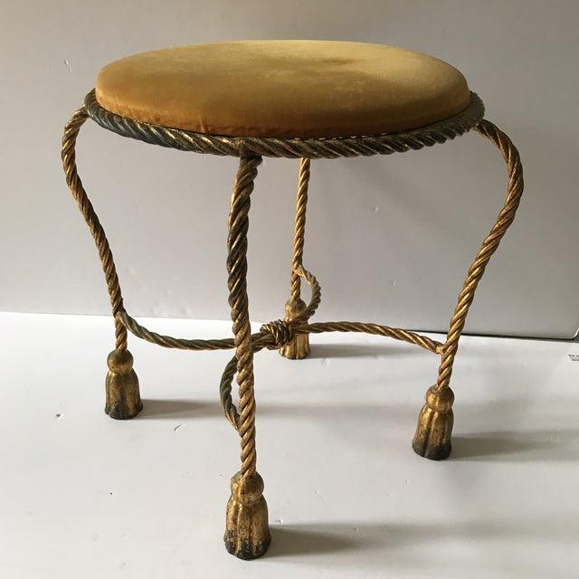 1960s Vintage Italian Gilt Rope & Tassel Mohair Seat Stool For Sale - Image 5 of 5