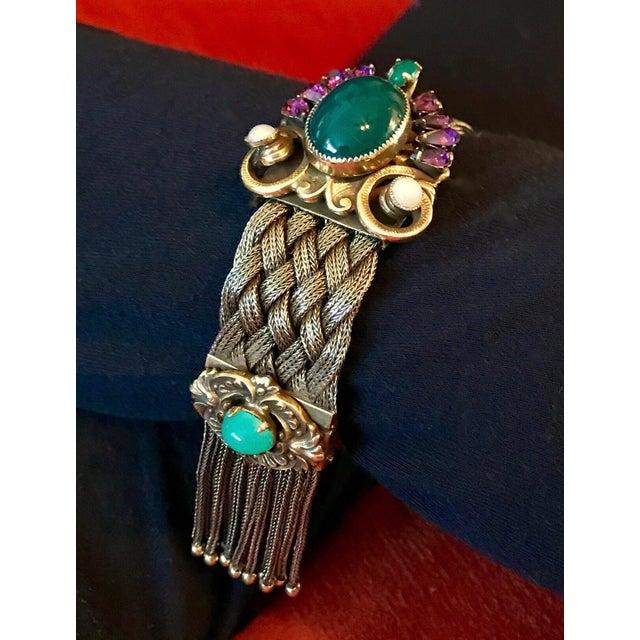 Traditional 1940s Victorian Revival Goldtone Jeweled Tassel Bracelet For Sale - Image 3 of 9