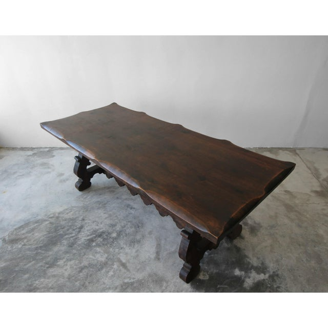 Antique Spanish Industrial Farm Style Trestle Dining Table For Sale - Image 5 of 7