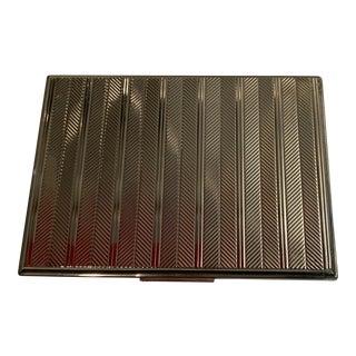 1930s Evans Silver Cigarette Case in Deco Herringbone Design For Sale