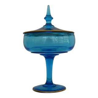 1930s Blue Pedestal Compote Candy Jar With Hand Painted and Enameled Lid With Gold Trim For Sale