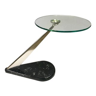 1970s Space Age Marble Glass and Chrome End Table For Sale