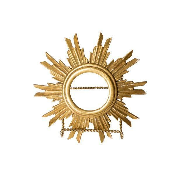 French Gilt Wood Sunburst Religious Relic - Image 2 of 6