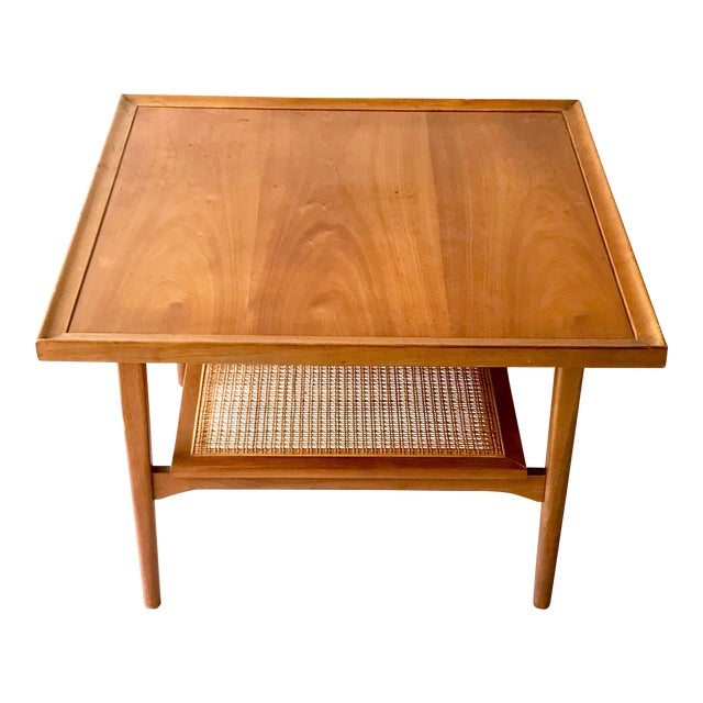 1960s Vintage Drexel Side Table With Caned Shelf For Sale