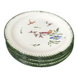 Image of Vintage French Faience Hand Painted Plates - Set of 6 For Sale