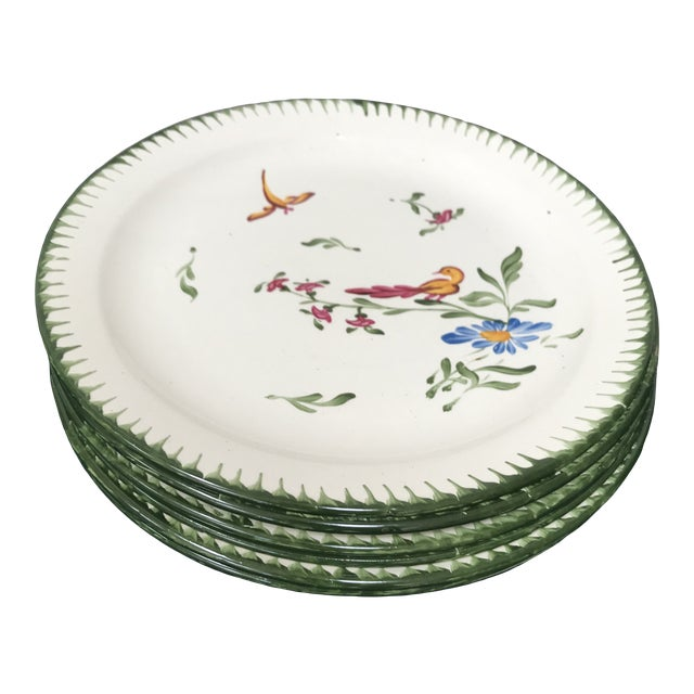 Vintage French Faience Hand Painted Plates - Set of 6 For Sale