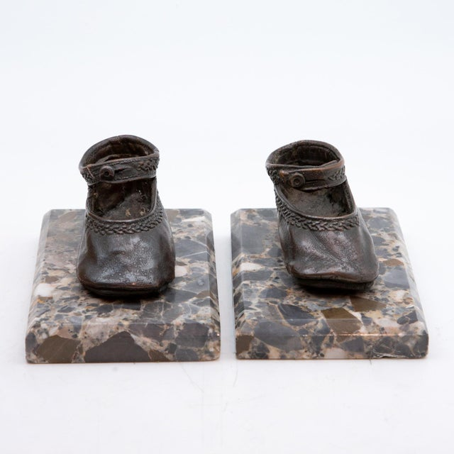 Victorian Bronze Ballerina Style Baby Shoes Weights with Marble Base - A Pair For Sale - Image 3 of 6