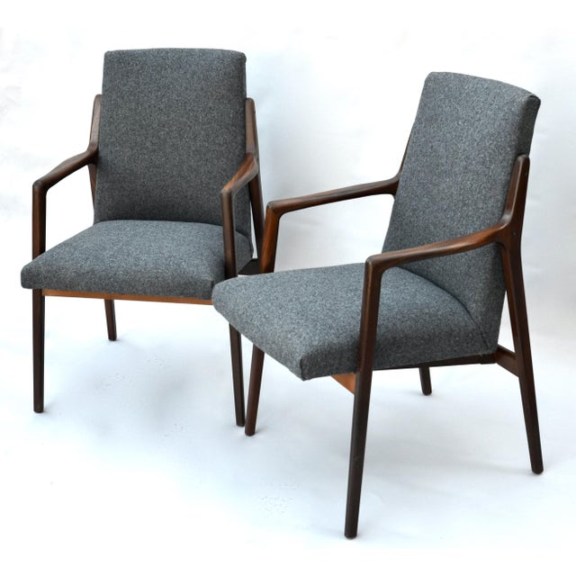 Textile Danish Mid Century Modern Highback Walnut Chair Pair For Sale - Image 7 of 7