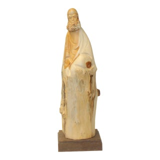 Chinese Cypress Wood Carved Irregular Shape Zen Master Damo Statue For Sale