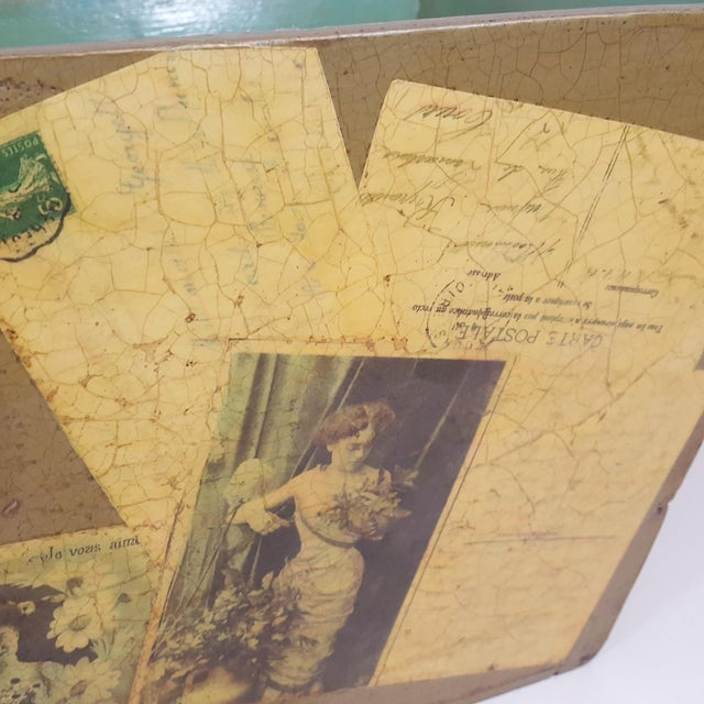 Antique Victorian Postcard Decoupaged Wooden Tote Basket For Sale In Dallas - Image 6 of 13