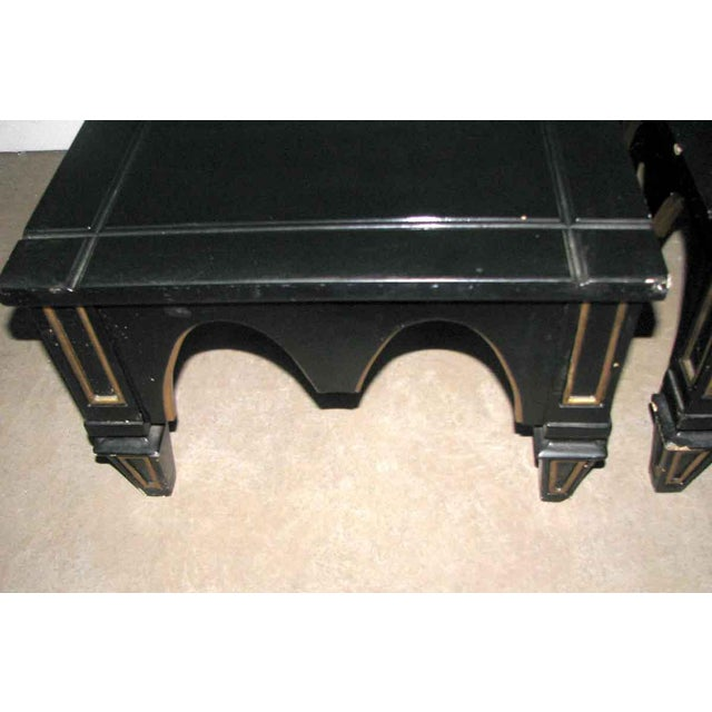 Priced each. Small black side table with gold details. Listing is for a single unit but 3 are available. Please contact...