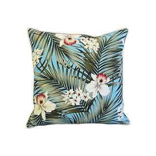 """Summer Teal Tropical Orchid & Palm Feather/Down Pillows 24"""" Square - Pair Preview"""